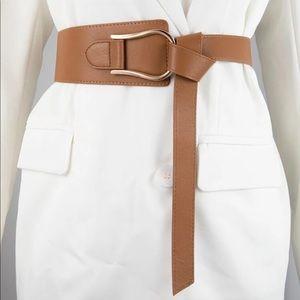 Brown Long Length Tie Buckle Belt